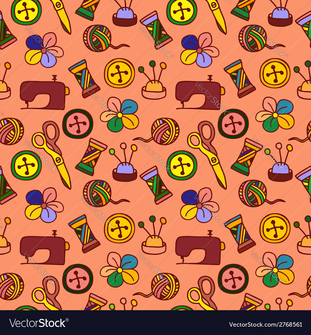 Cartoon hand drawn seamless pattern with sewing vector | Price: 1 Credit (USD $1)