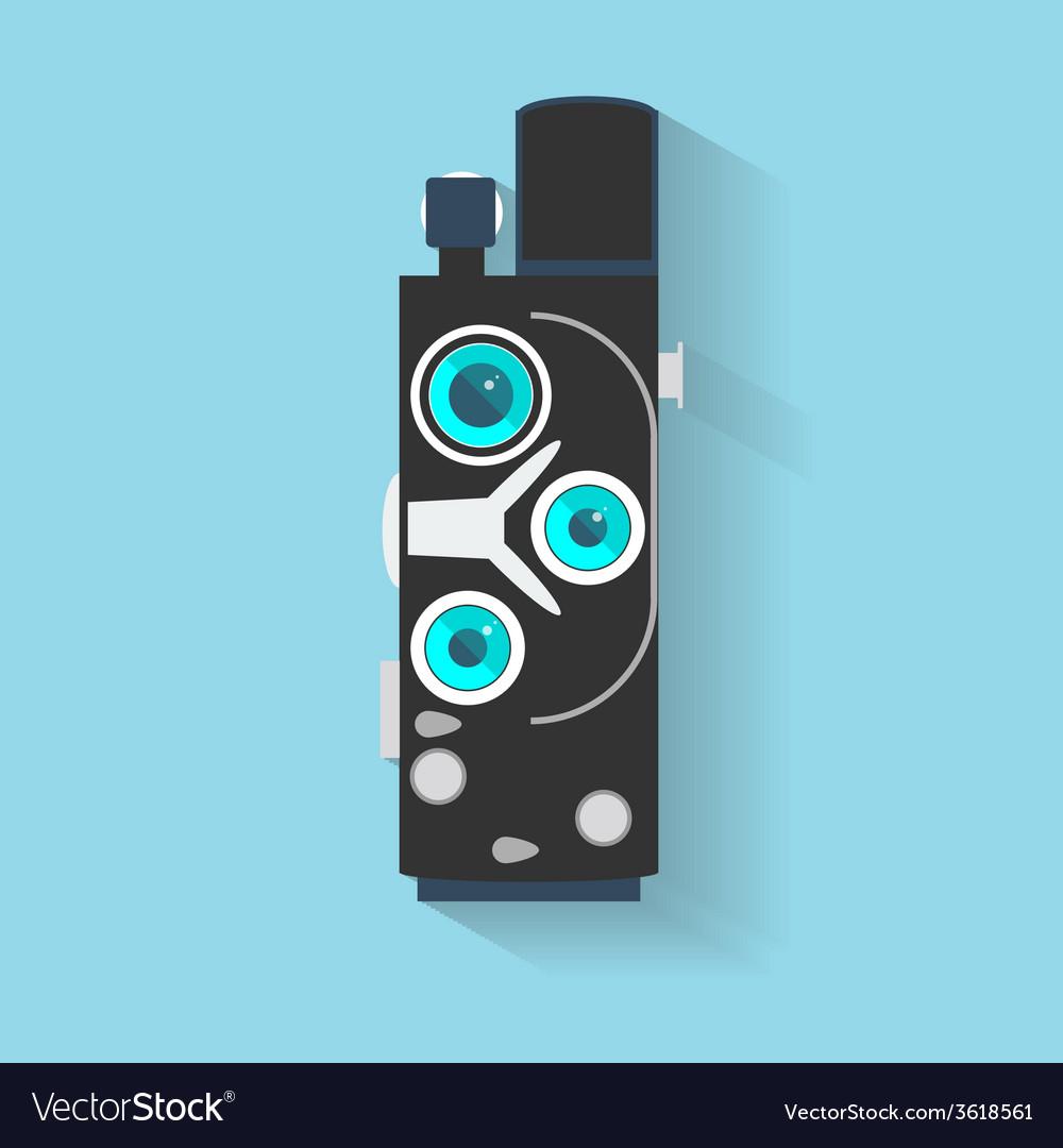 Flat design long shadow icon of vintage camera vector | Price: 1 Credit (USD $1)