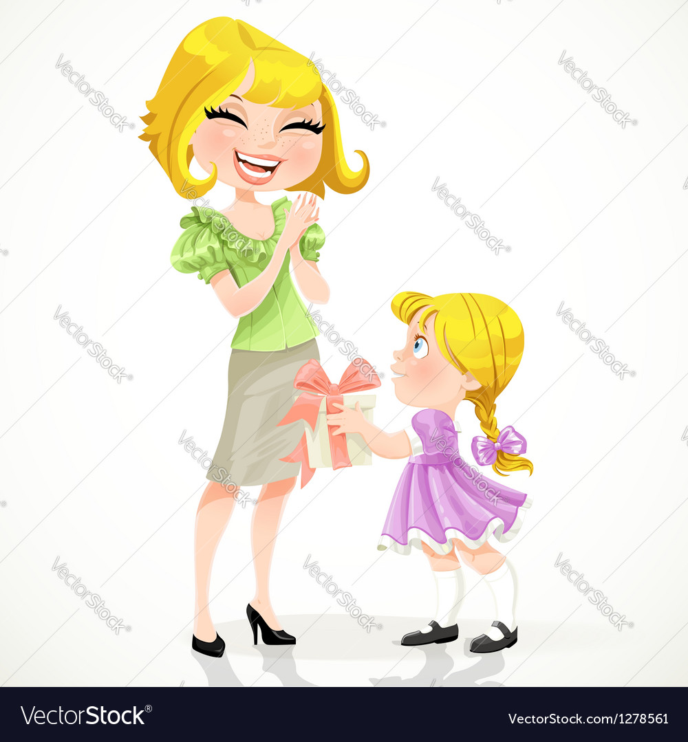 Little daughter gives mom a gift for mothers day vector | Price: 1 Credit (USD $1)