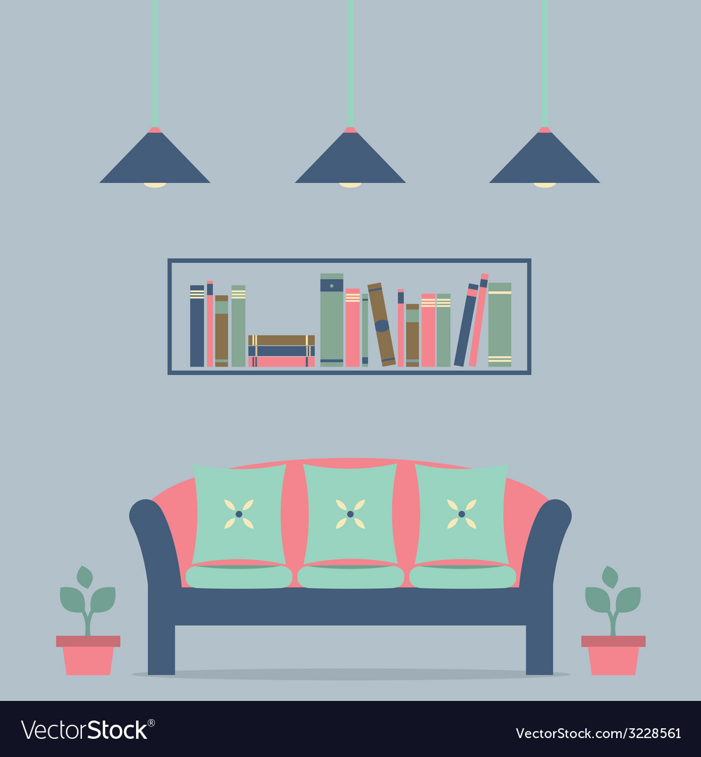 Modern design interior sofa and bookshelf vector | Price: 1 Credit (USD $1)