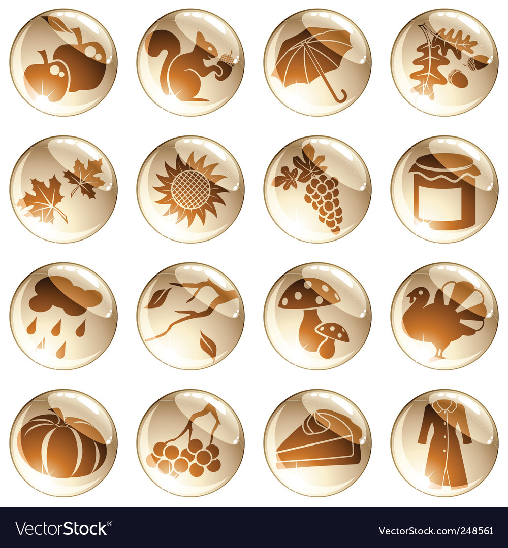 Set of brown autumn icons vector | Price: 1 Credit (USD $1)