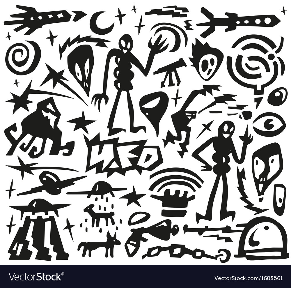 Space  aliens - doodles vector | Price: 1 Credit (USD $1)