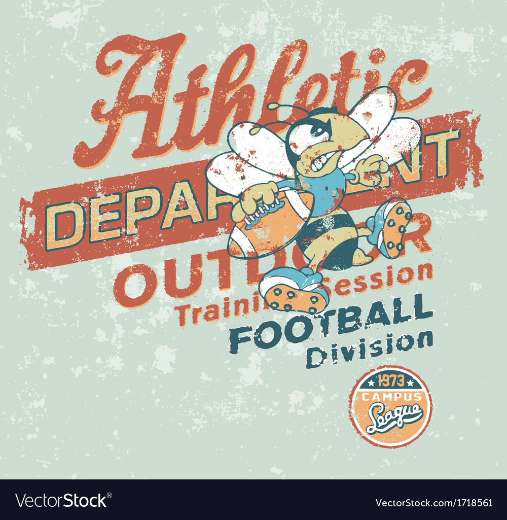 Vintage athletic department with wasp character vector | Price: 1 Credit (USD $1)