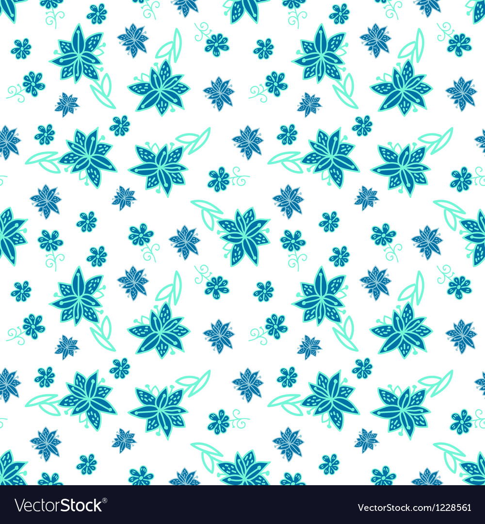 Vintage blue and white floral seamless pattern vector | Price: 1 Credit (USD $1)