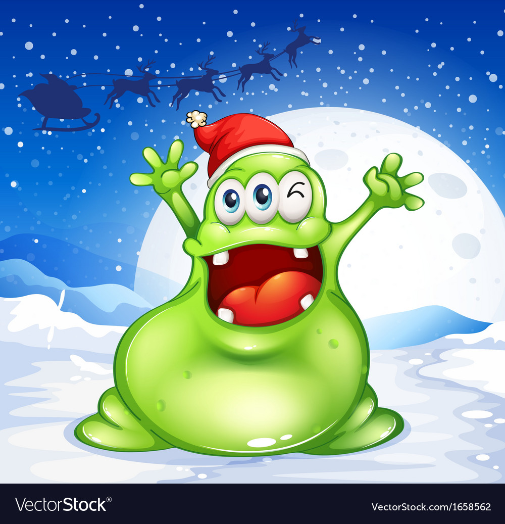 A fat green monster wearing a red santa hat vector | Price: 3 Credit (USD $3)