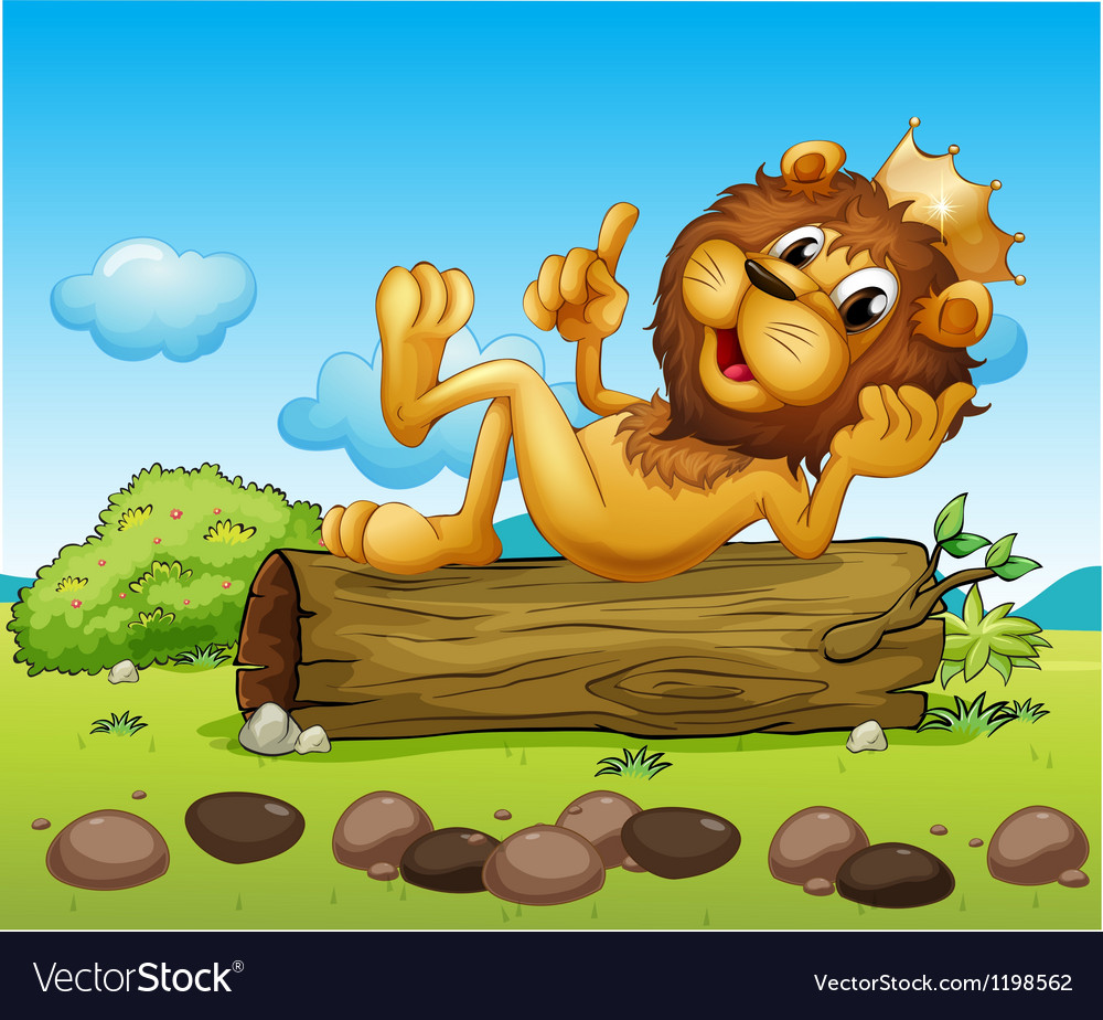 A lion king above a trunk vector   Price: 1 Credit (USD $1)