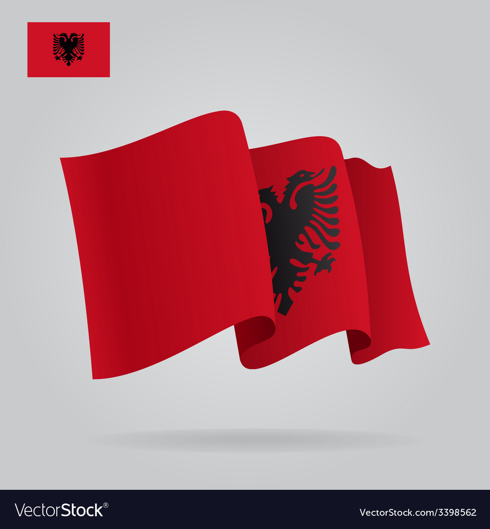 Background with waving albanian flag vector | Price: 1 Credit (USD $1)