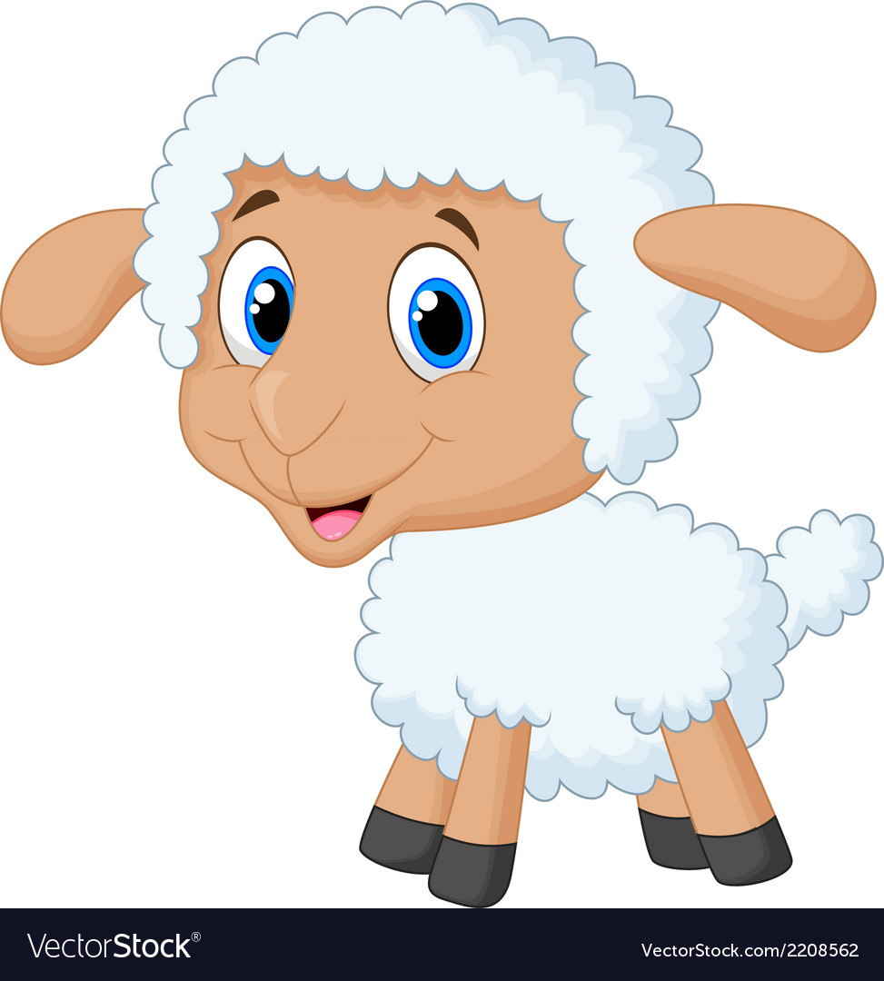 Cute lamb cartoon vector