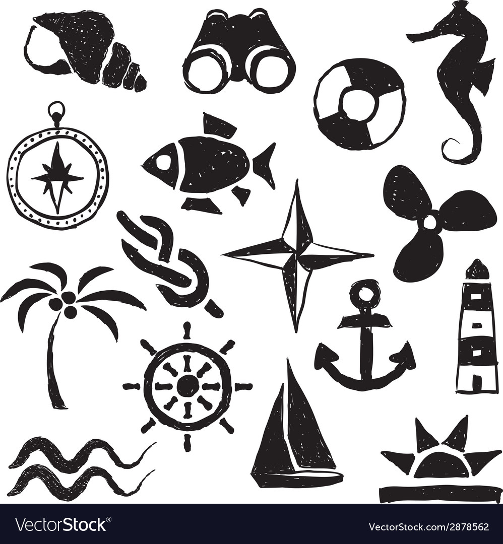 Doodle marine images vector | Price: 1 Credit (USD $1)