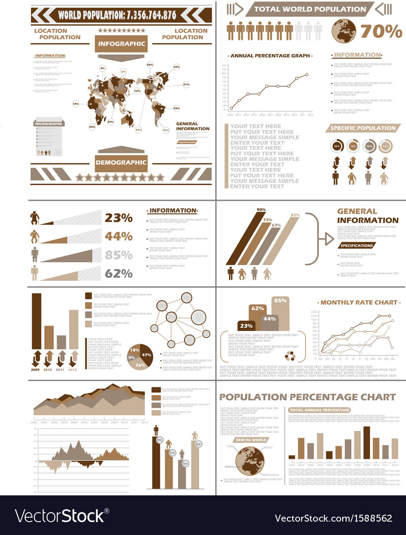 Infographic demographics population brown vector | Price: 1 Credit (USD $1)