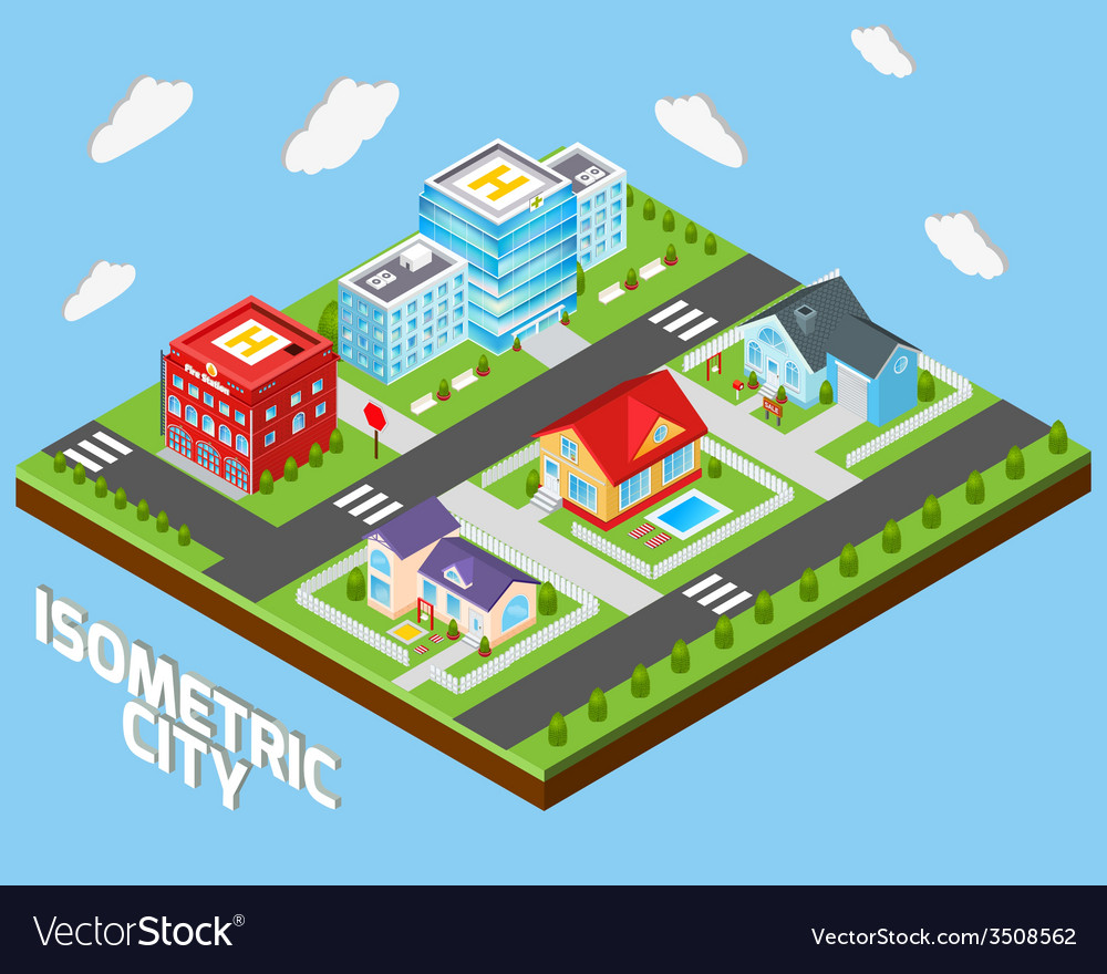 Isometric city set vector | Price: 1 Credit (USD $1)