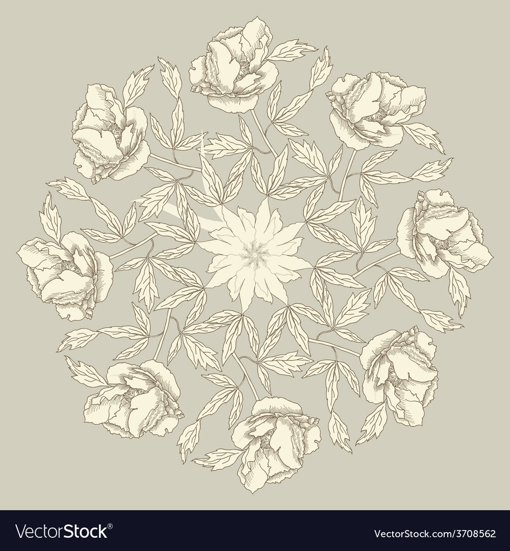 Ornamental round with peonies vector   Price: 1 Credit (USD $1)