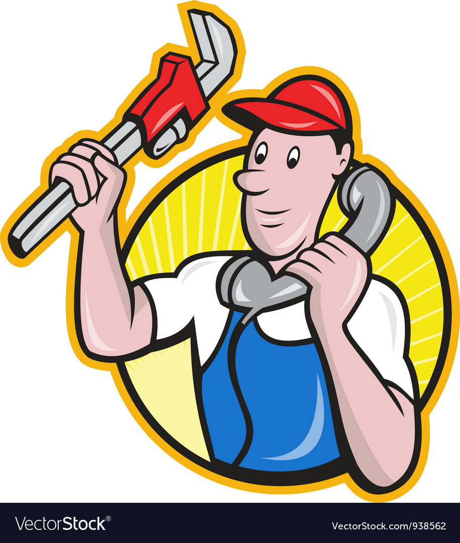 Plumber worker with adjustable wrench phone vector | Price: 3 Credit (USD $3)