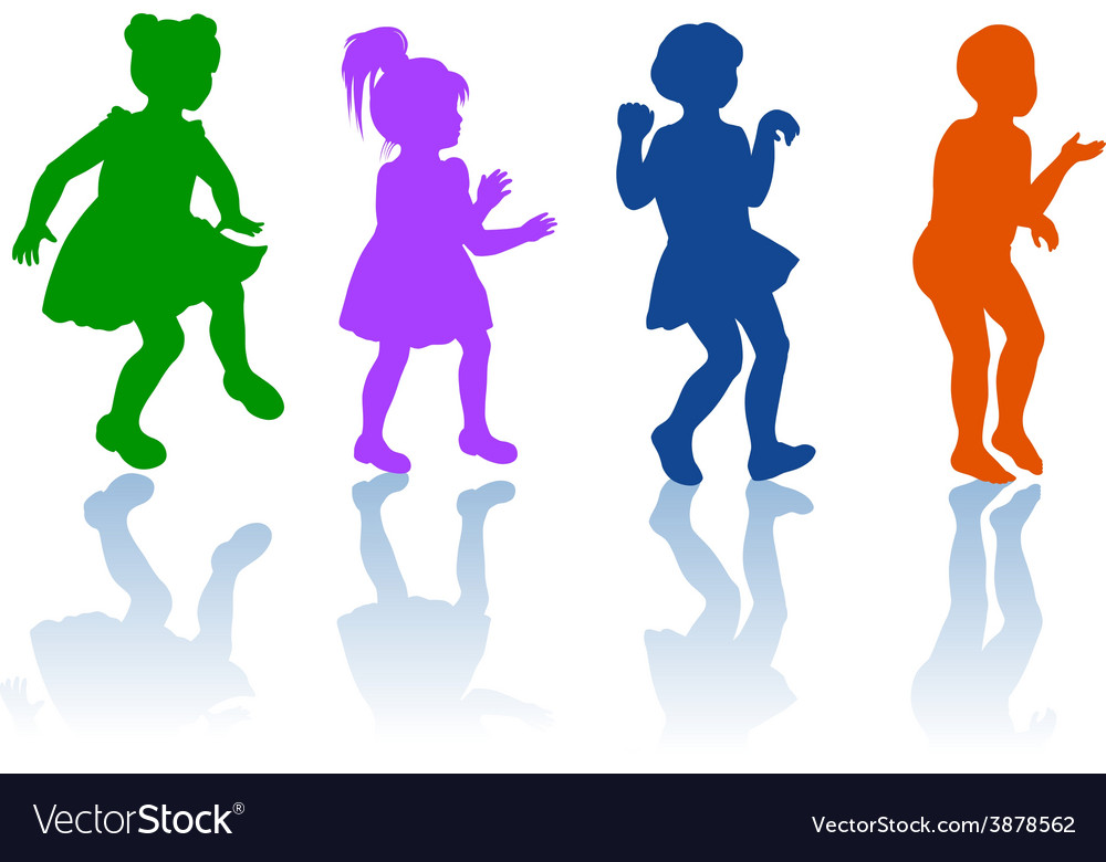 Silhouettes of little boy and girls vector | Price: 1 Credit (USD $1)