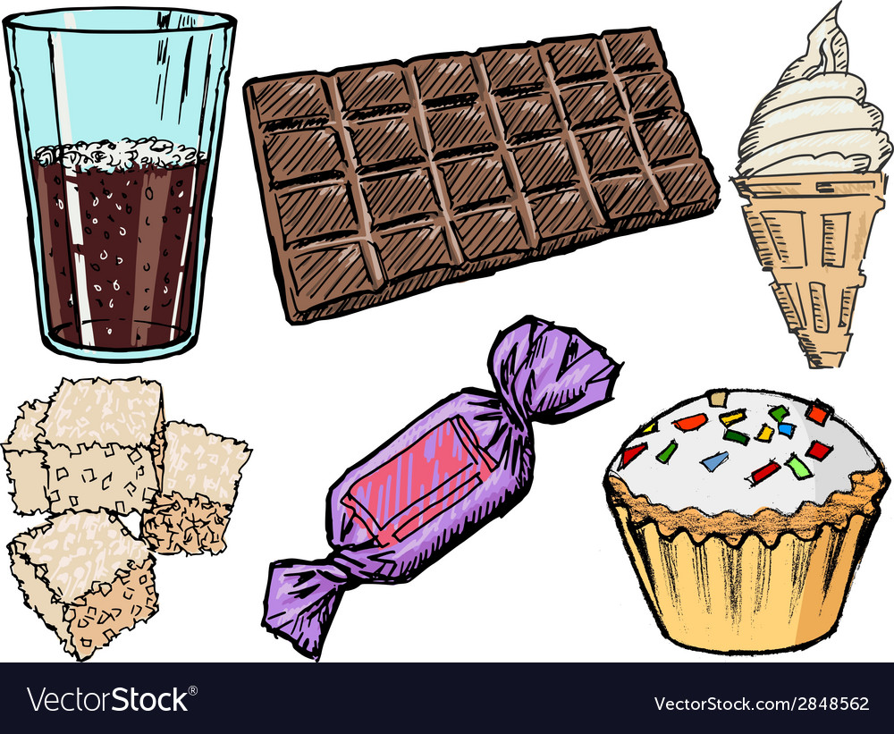 Sweet foods and drinks vector | Price: 1 Credit (USD $1)