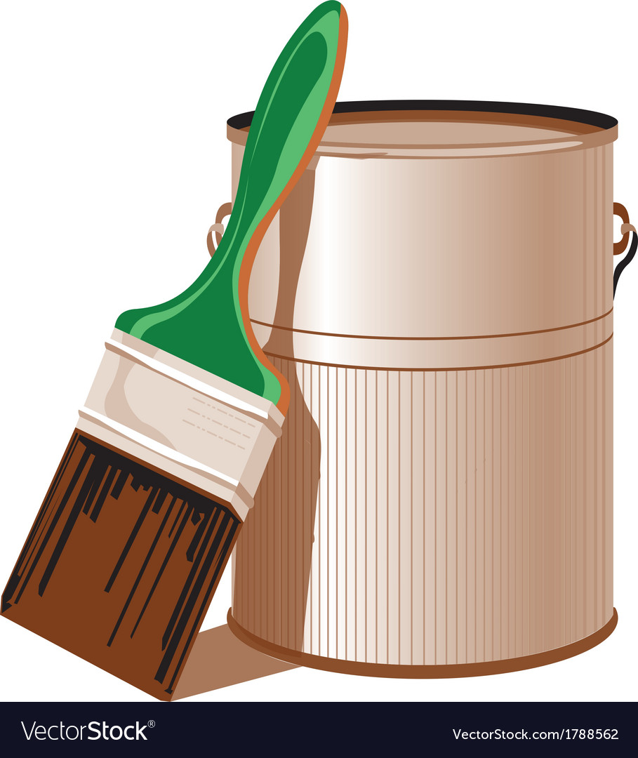 Tin with paint and paint brush vector   Price: 1 Credit (USD $1)