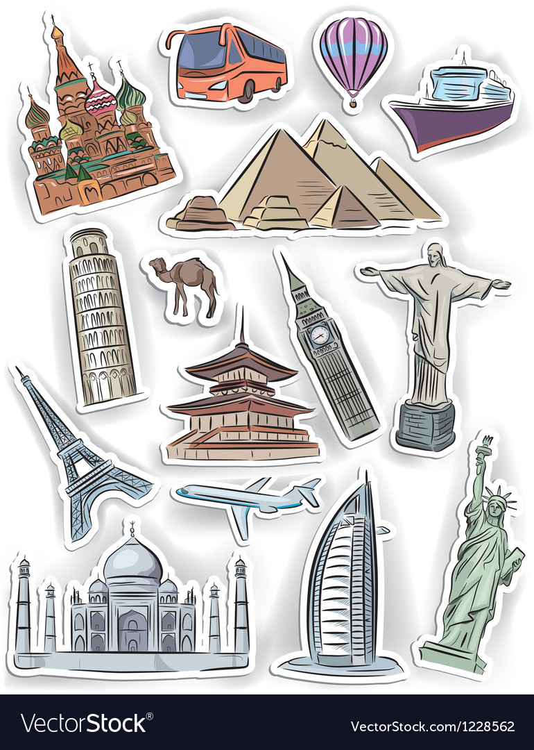 Travel and vacation stickers set vector | Price: 3 Credit (USD $3)