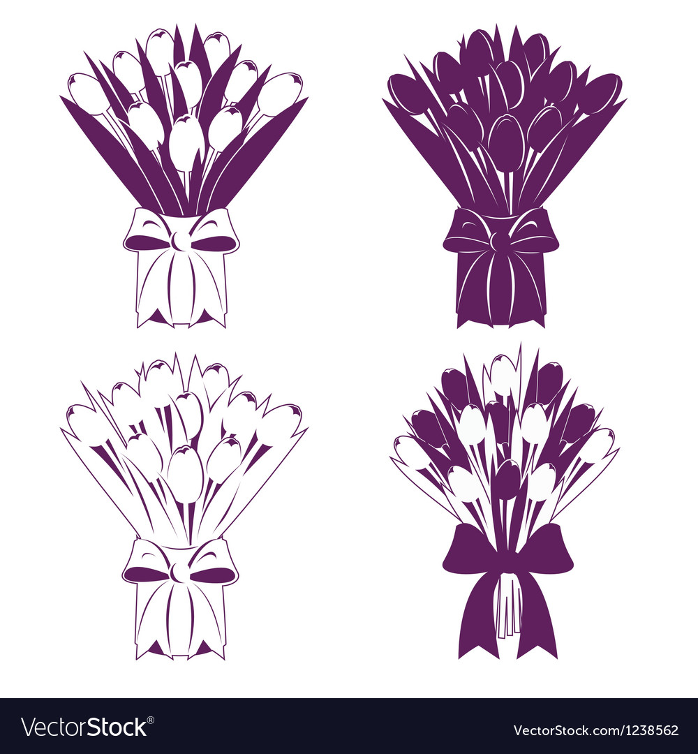 Tulip bouquet silhouette vector | Price: 1 Credit (USD $1)