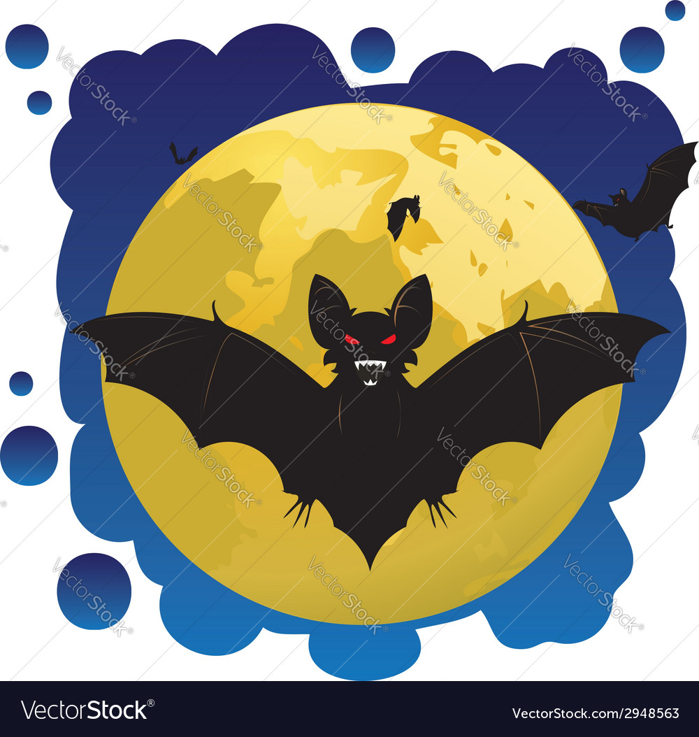 Bats and moon vector | Price: 1 Credit (USD $1)