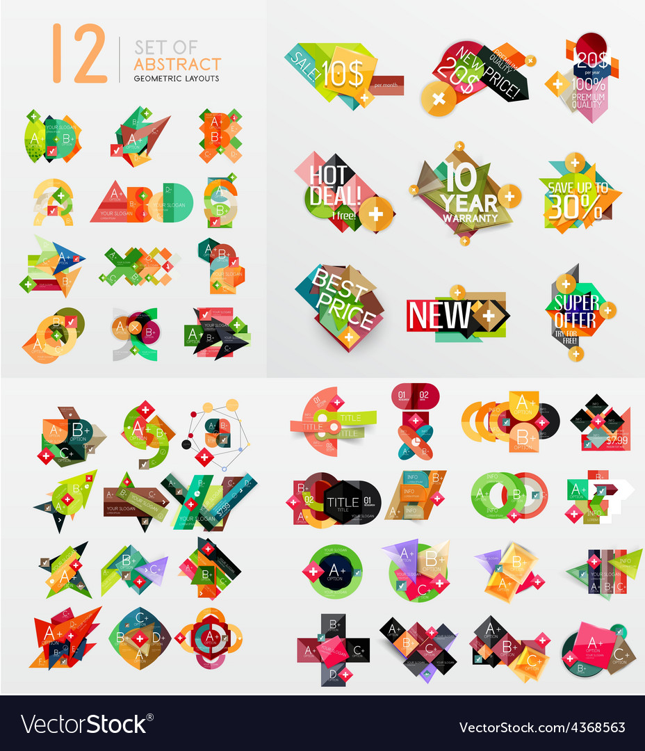 Colorful abstract geometric layouts mega vector | Price: 1 Credit (USD $1)