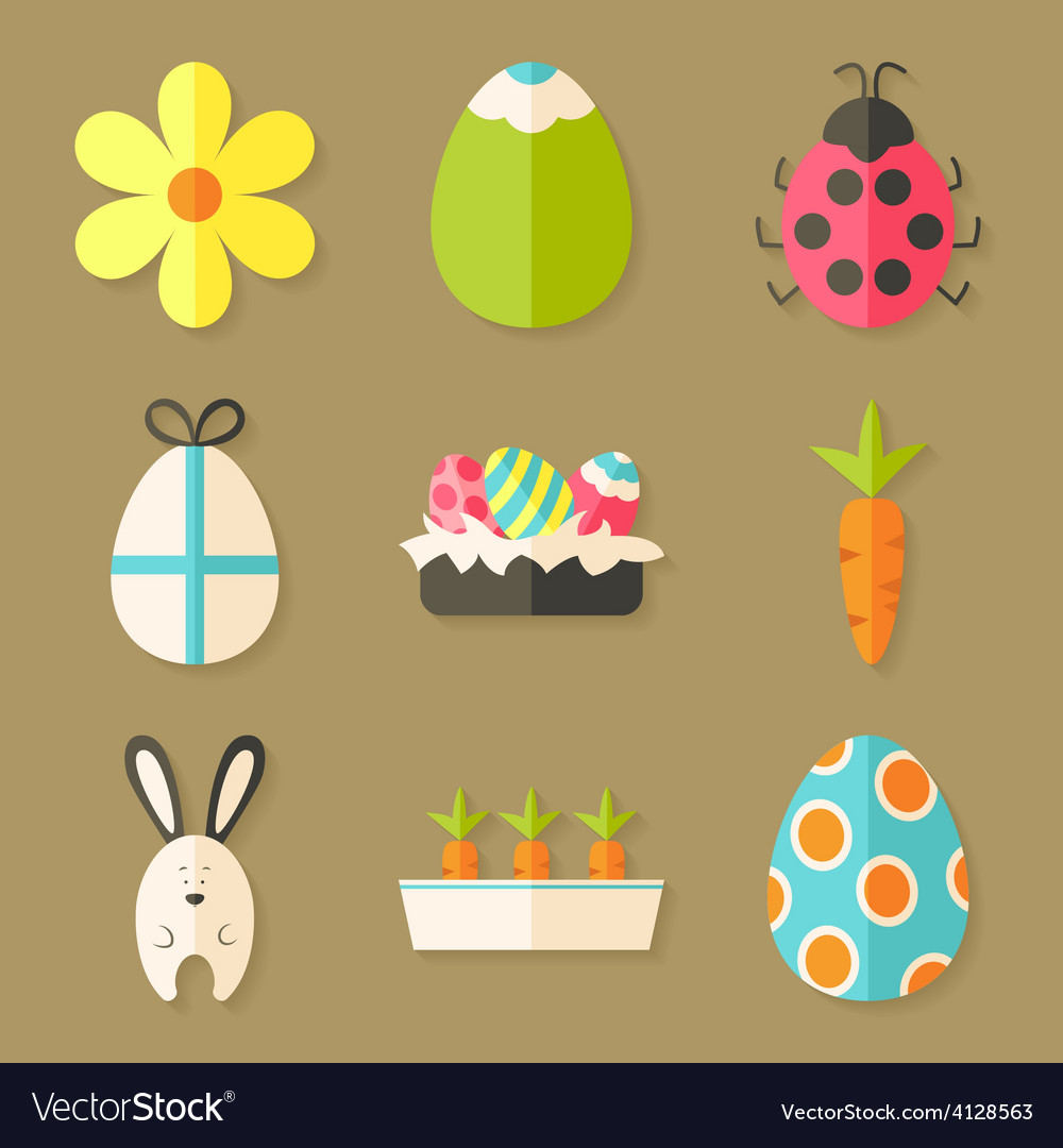 Easter icons set with shadows over light brown vector | Price: 1 Credit (USD $1)