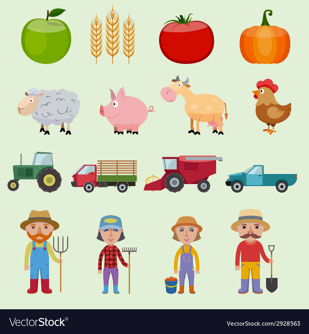 Farm icons set vector | Price: 1 Credit (USD $1)