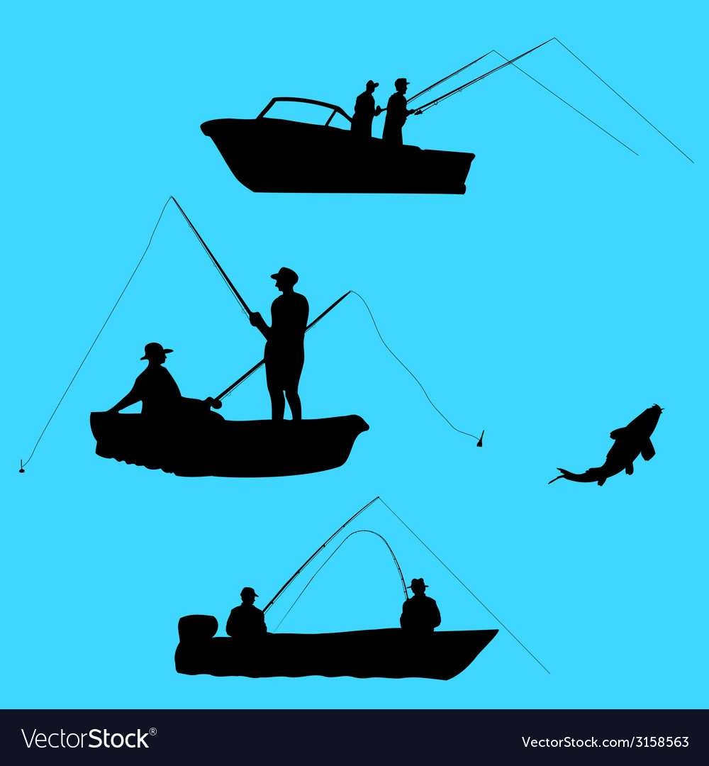 Fishermen from boat vector | Price: 1 Credit (USD $1)