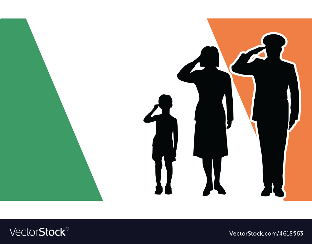 Ireland soldier family salute vector | Price: 1 Credit (USD $1)