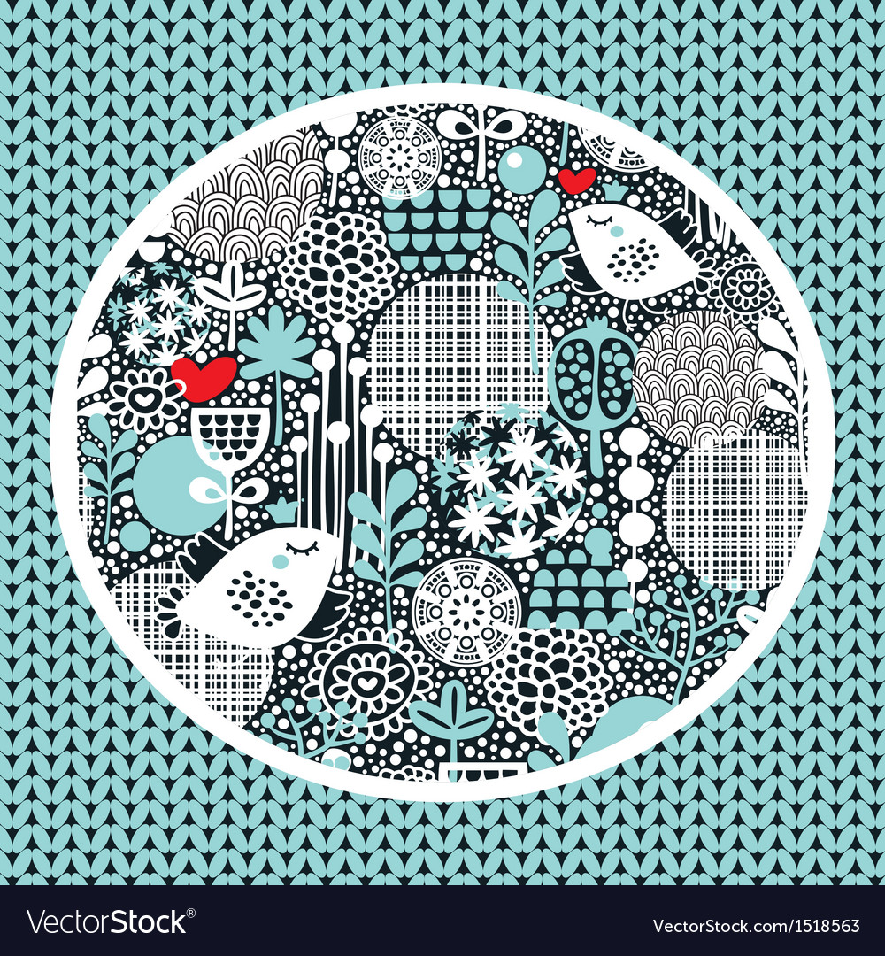 Pattern with snow birds hearts and flowers vector | Price: 1 Credit (USD $1)