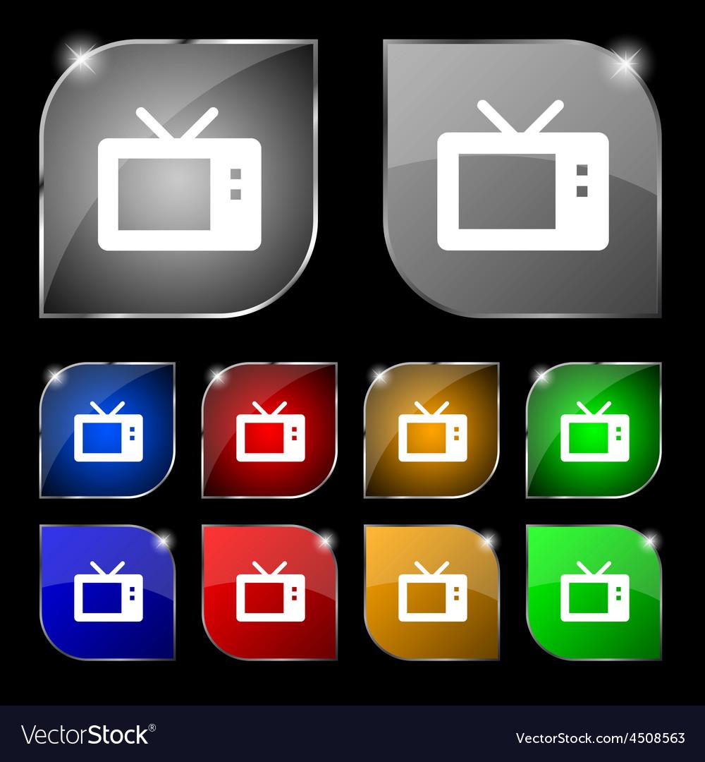 Retro tv mode icon sign set of ten colorful vector | Price: 1 Credit (USD $1)