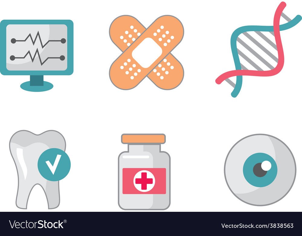 Set of flat science icons vector | Price: 1 Credit (USD $1)