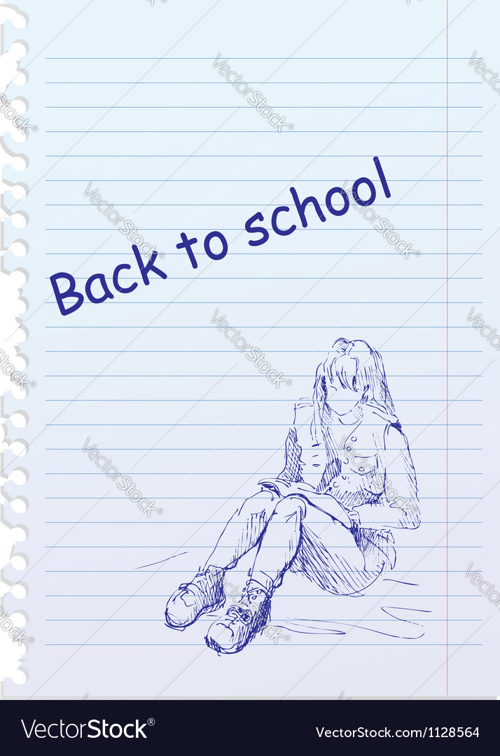 Back to school placard with hand-drawn girl vector | Price: 1 Credit (USD $1)