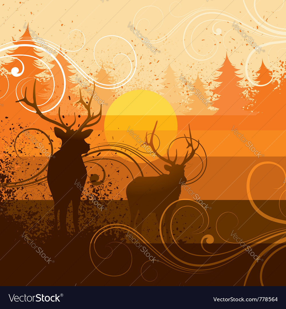Deer and forest background vector | Price: 1 Credit (USD $1)