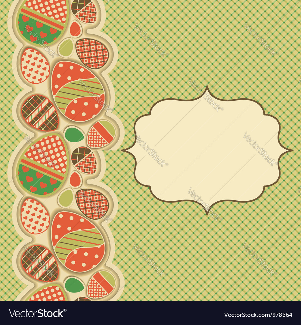 Easter greeting card with seamless border vector | Price: 1 Credit (USD $1)