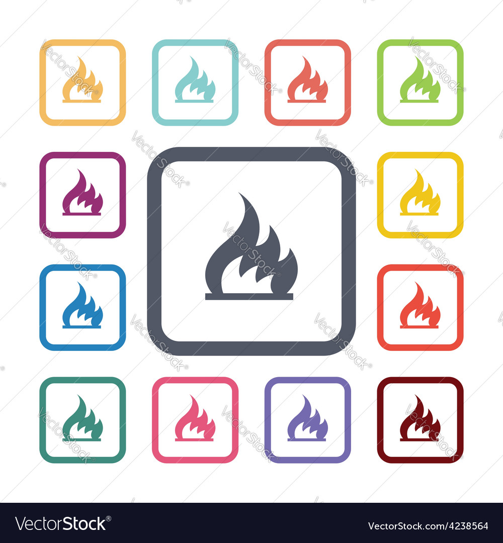 Fire flat icons set vector   Price: 1 Credit (USD $1)