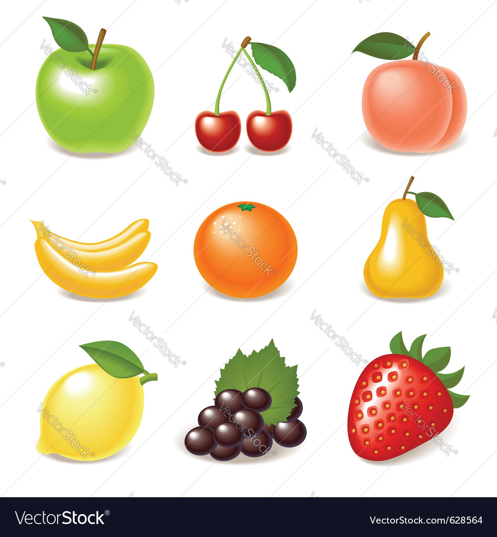 Fruit icon set vector | Price: 3 Credit (USD $3)