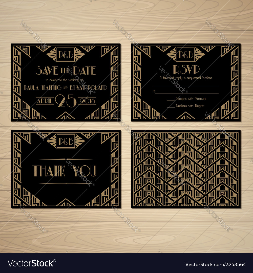 Gatsby save the date vector | Price: 1 Credit (USD $1)