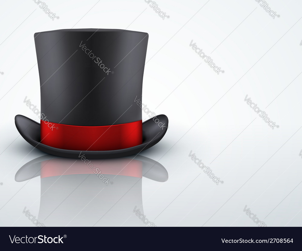 Light background black gentleman hat cylinder with vector | Price: 1 Credit (USD $1)