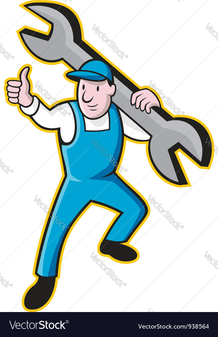Mechanic with spanner thumbs up vector | Price: 3 Credit (USD $3)