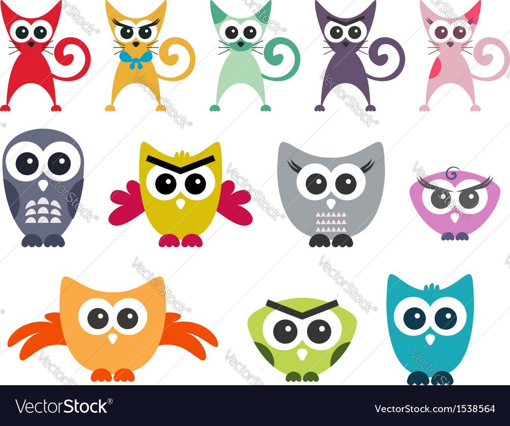 Owl cat clipart owl clip art cat clip art vector | Price: 1 Credit (USD $1)