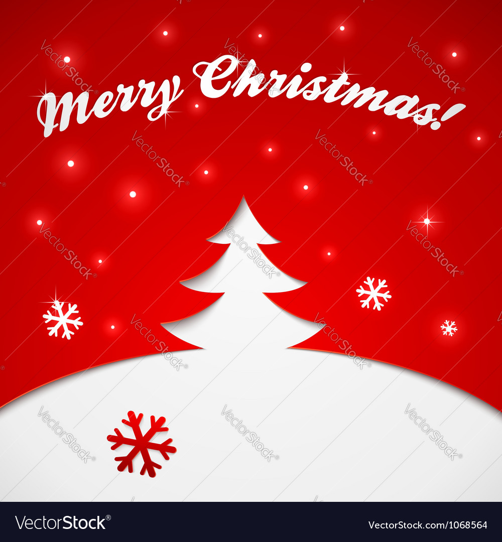 Red and white christmas tree applique vector | Price: 1 Credit (USD $1)