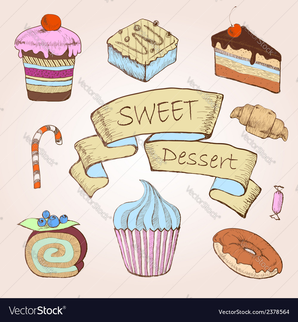 Set of cakes decorative sketch vector | Price: 1 Credit (USD $1)