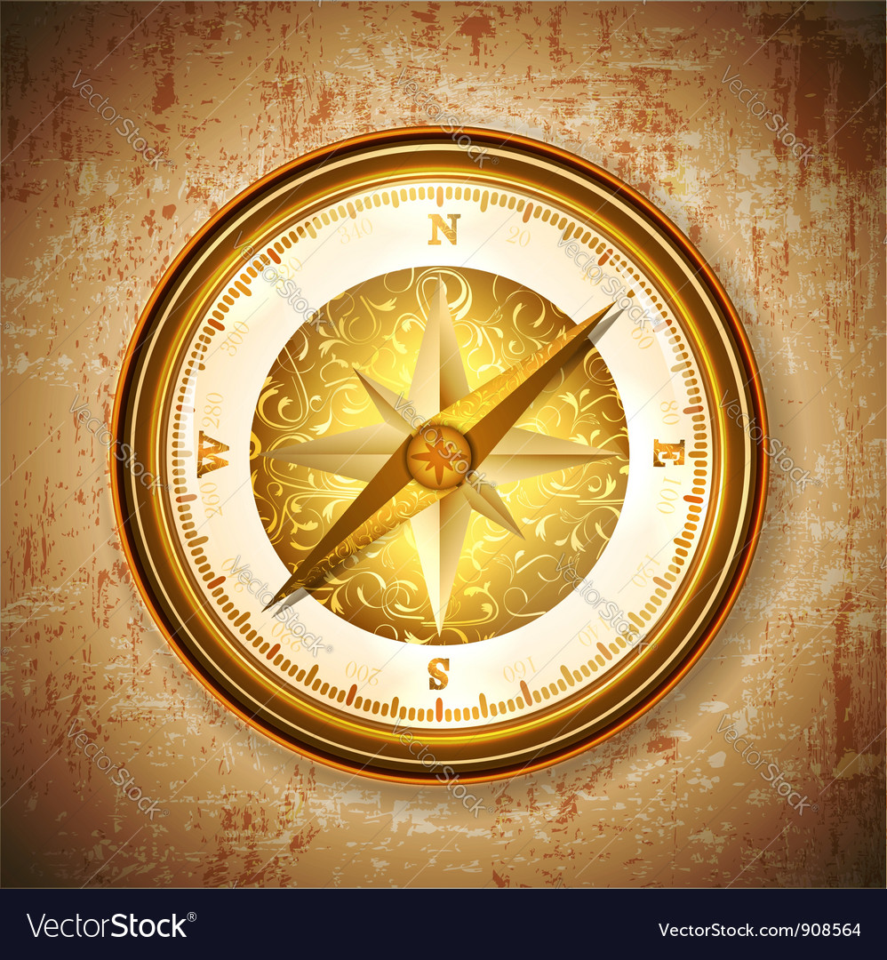 Vintage antique golden compass vector | Price: 1 Credit (USD $1)