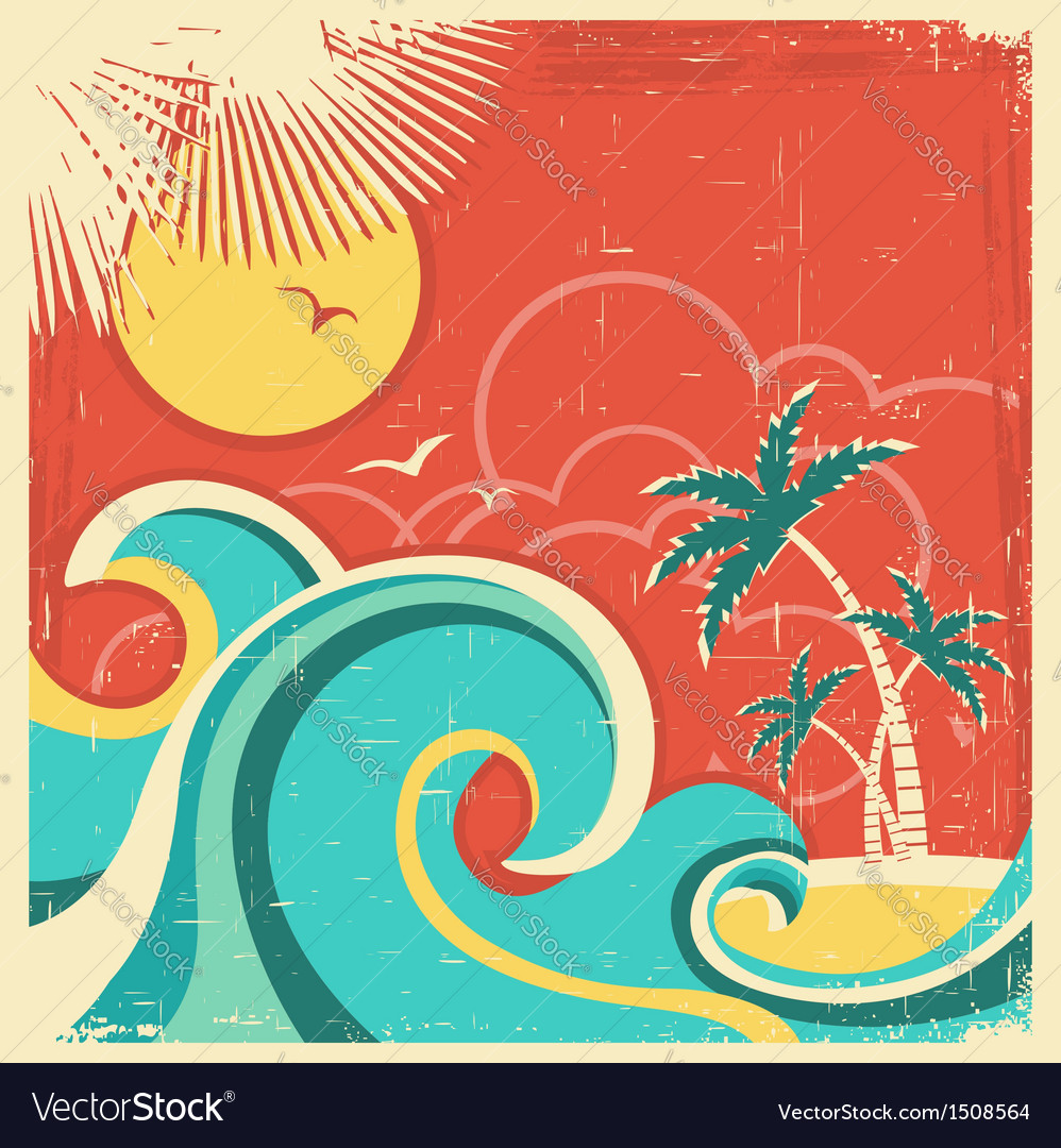 Vintage tropical poster vector | Price: 1 Credit (USD $1)