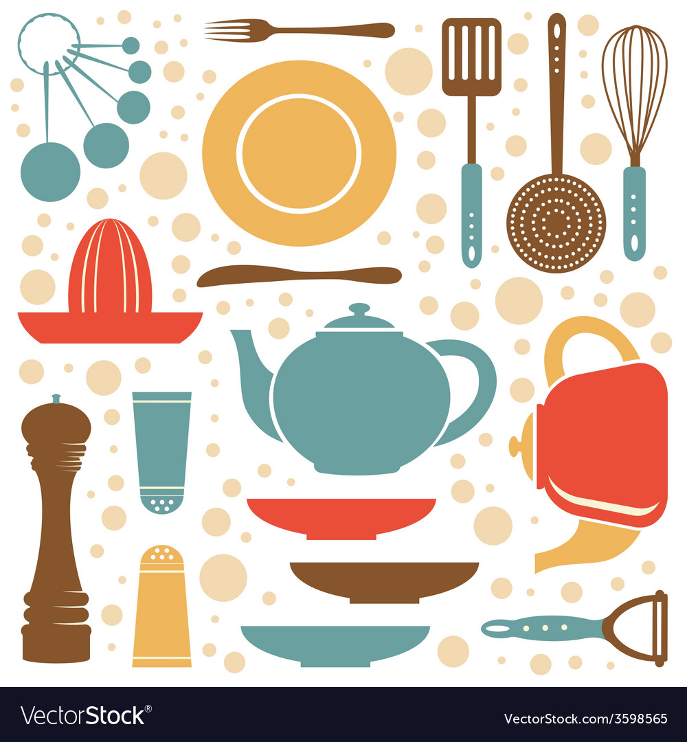 A kitchen collection retro style vector | Price: 1 Credit (USD $1)