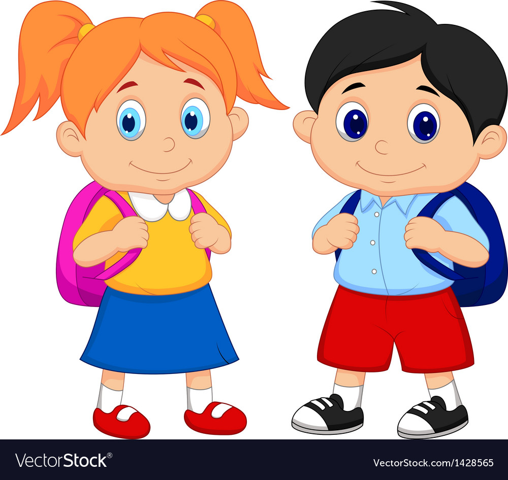 Cartoon boy and girl with backpacks vector | Price: 1 Credit (USD $1)