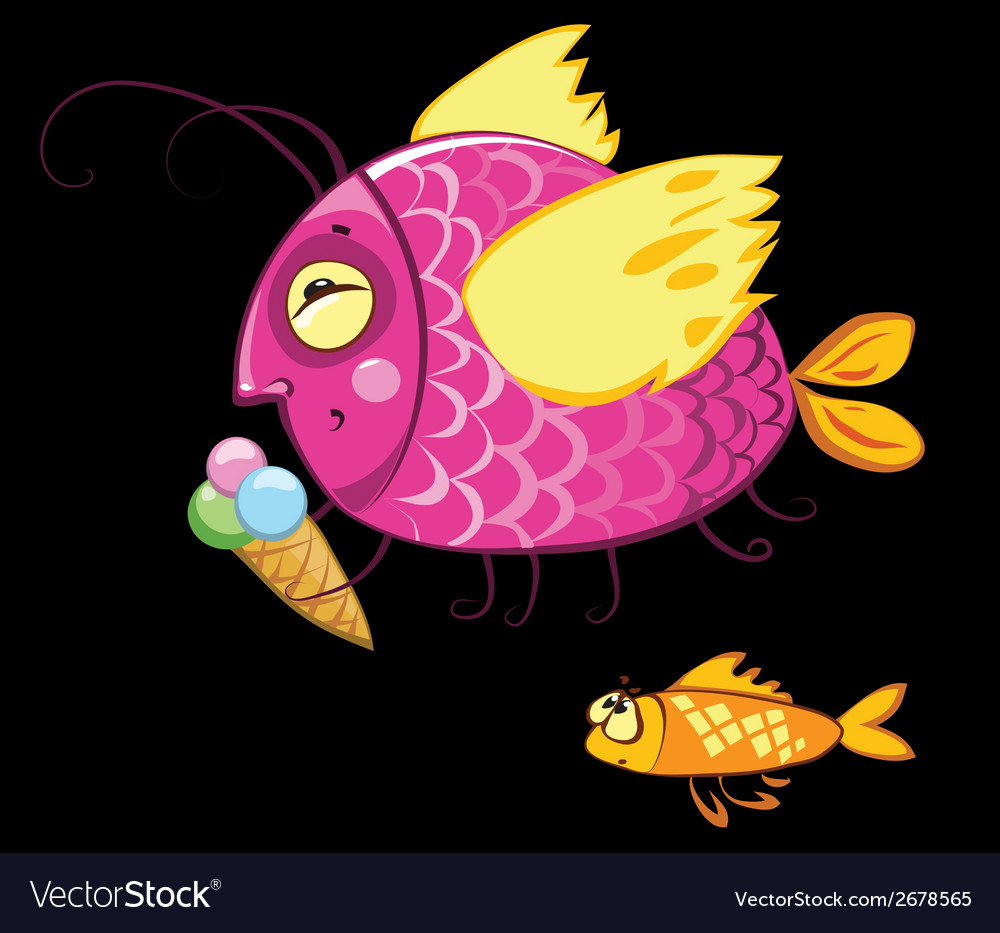 Cartoon fishes characters icecream gourmand vector | Price: 1 Credit (USD $1)