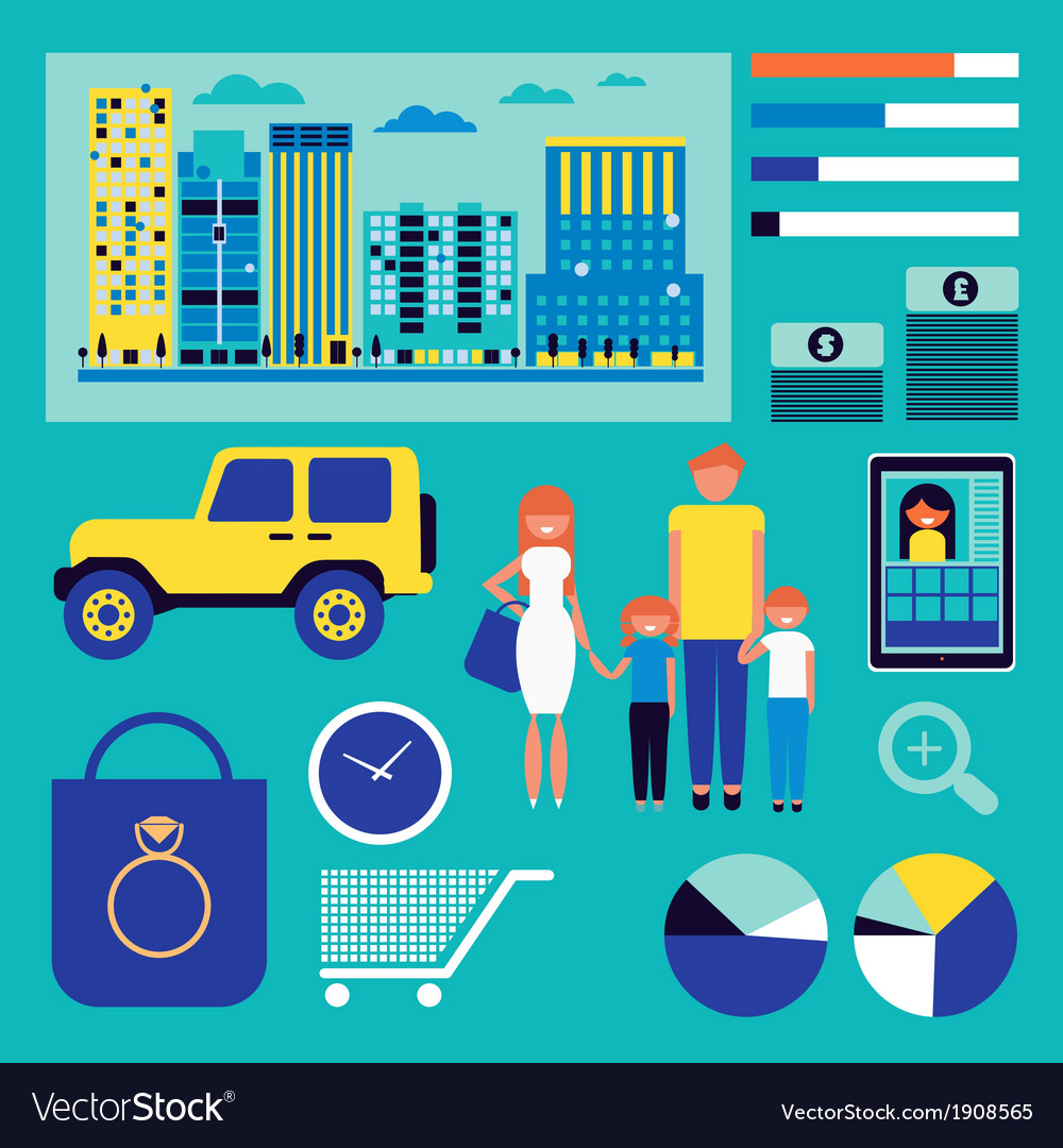 Family shopping infographic vector | Price: 3 Credit (USD $3)