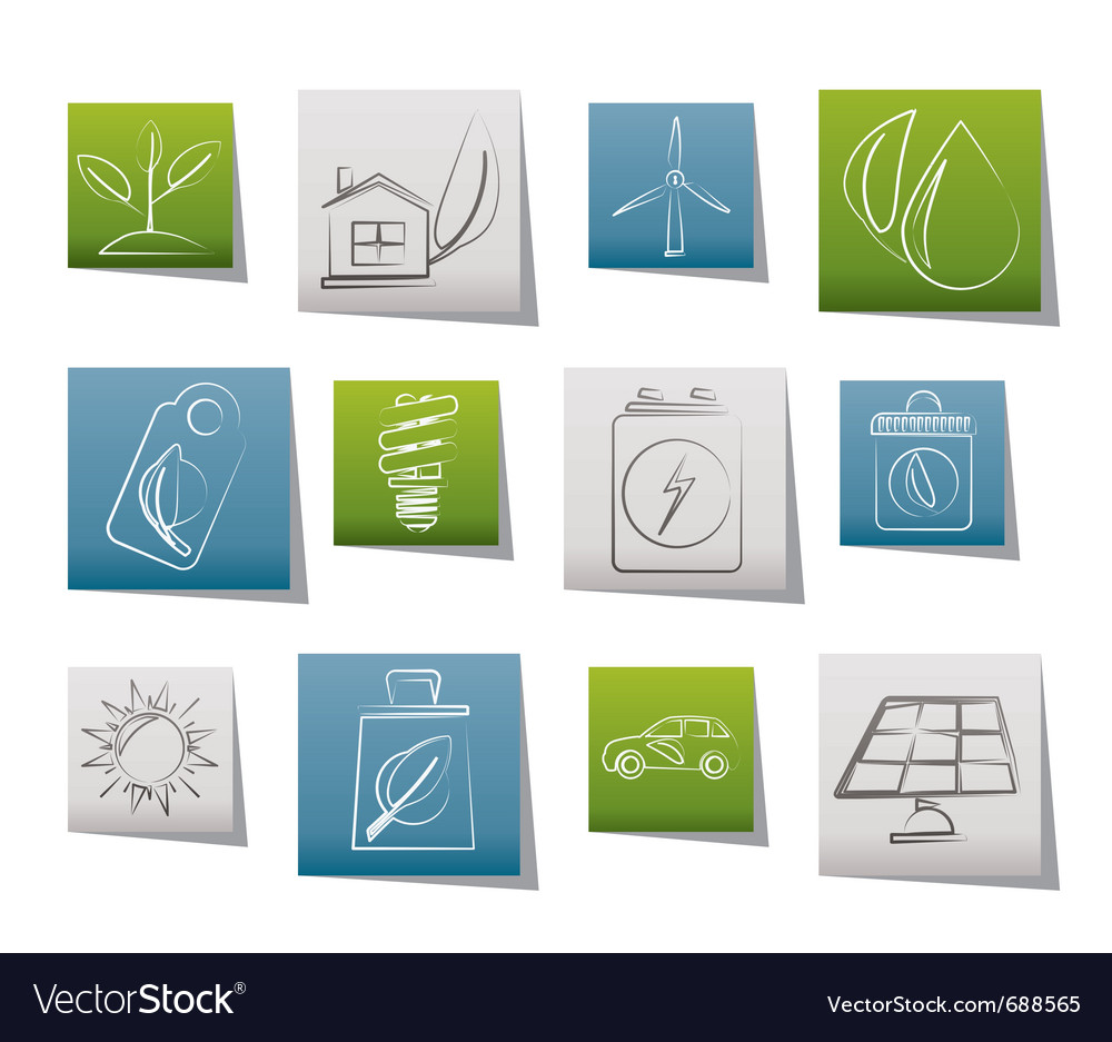 Green and environment icons vector | Price: 1 Credit (USD $1)