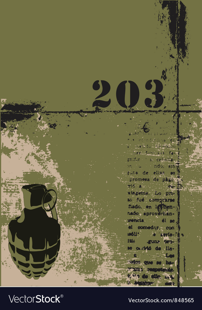 Hand grenade grunge background vector   Price: 1 Credit (USD $1)
